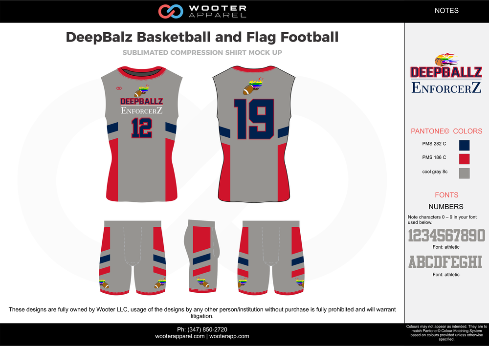 DeepBalz Basketball and Flag Football gray red blue flag football uniforms jerseys shorts