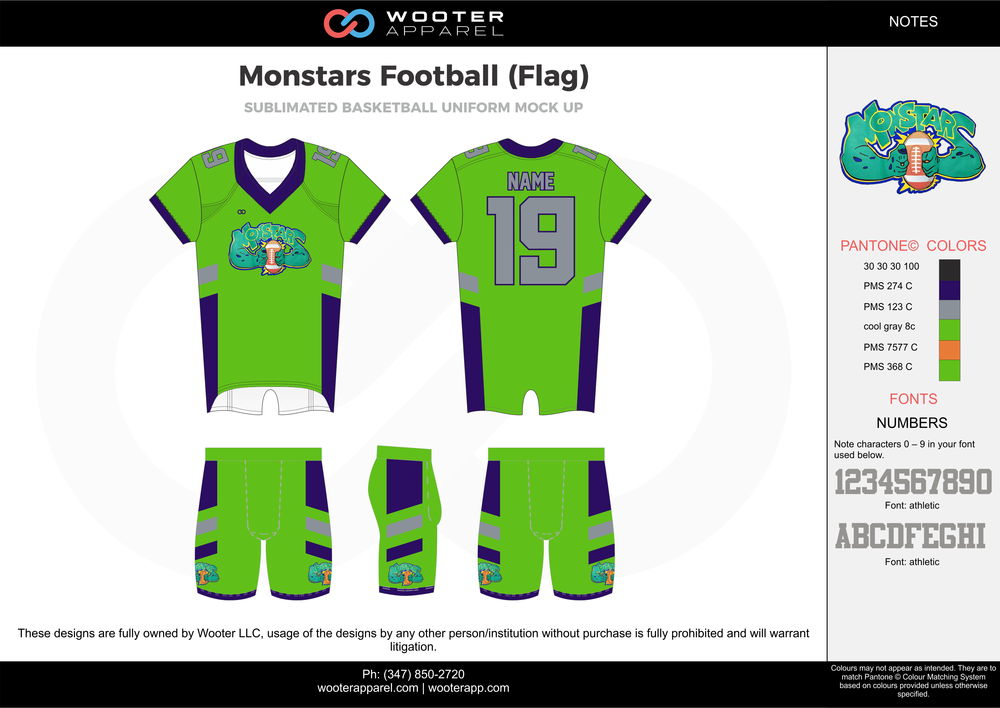 MONSTARS FOOTBALL (FLAG) green gray blue orange flag football uniforms jerseys shorts