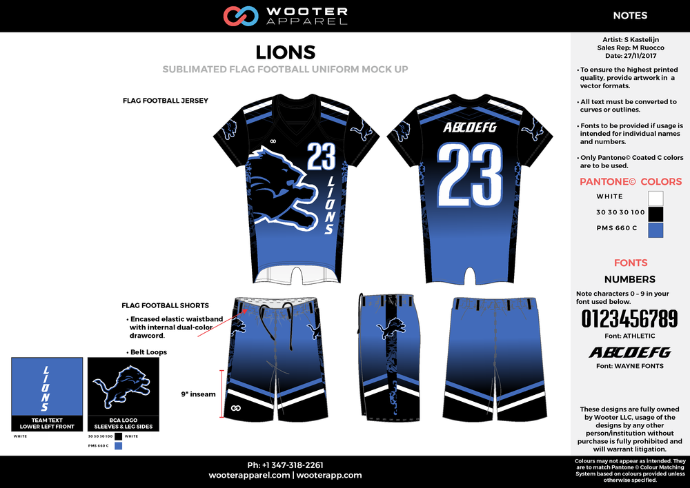 LIONS blue black white flag football uniforms jerseys shorts