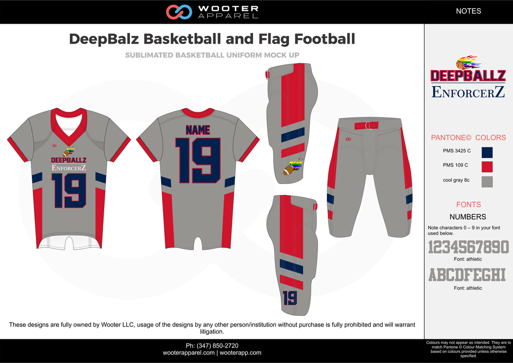 DeepBalz Basketball and Flag Football gray red blue flag football uniforms jerseys pants