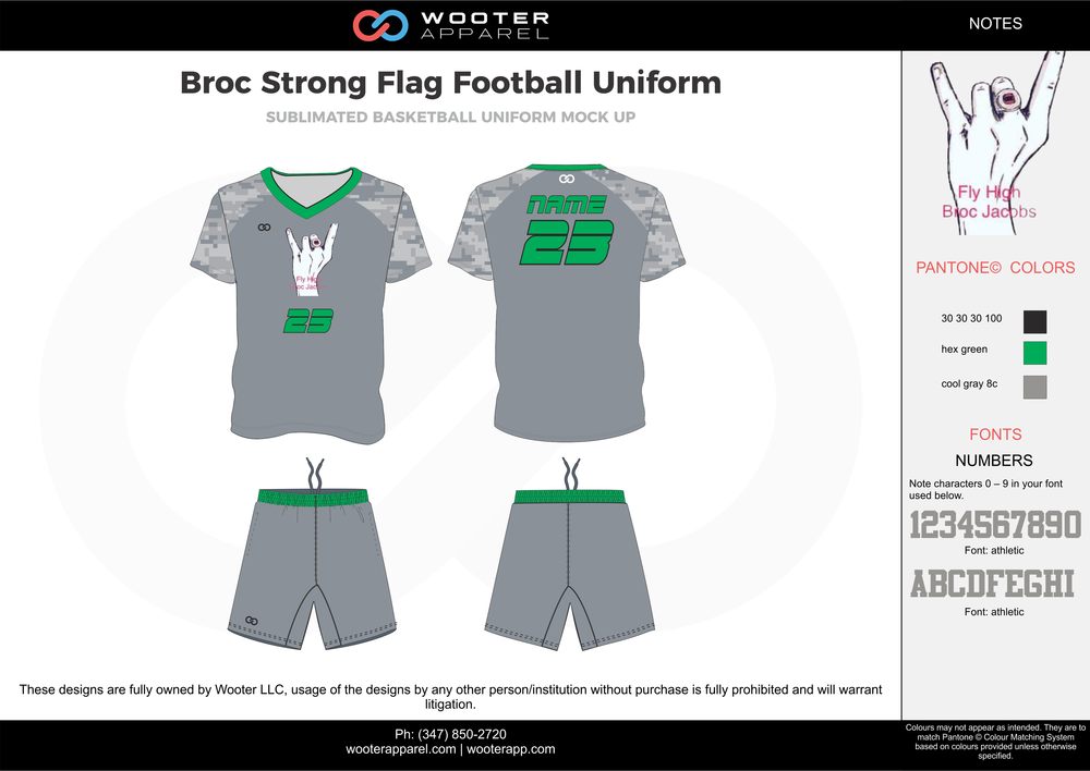 BROC Strong Flag Football Uniform gray green blue white flag football uniforms jerseys shorts