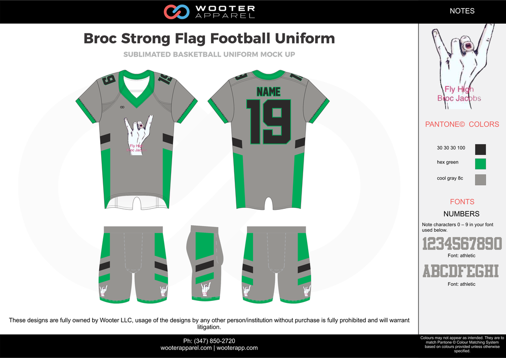 BROC STRONG green gray blue white flag football uniforms jerseys shorts