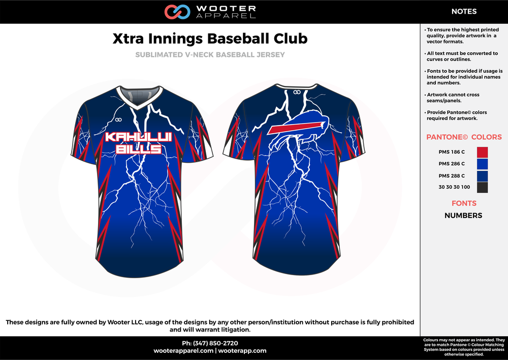 XTRA INNINGS Baseball Club blue black red white flag football uniforms jerseys top