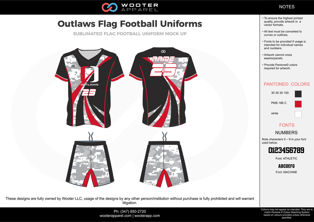 OUTLAWS Flag Football Uniform red gray black white flag football uniforms jerseys shorts
