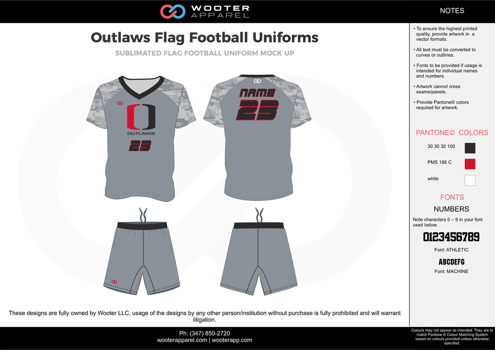 Outlaws Flag Football Uniforms gray red white black flag football uniforms jerseys shorts
