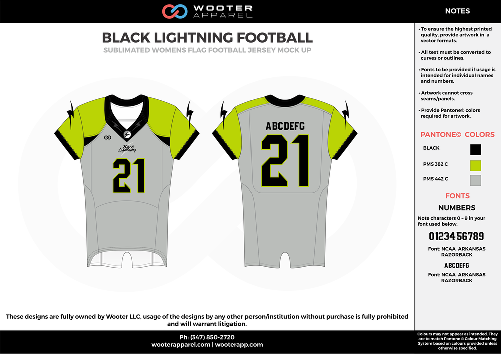 BLACK LIGHTNING FOOTBALL green gray black flag football uniforms jerseys top