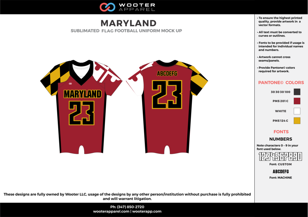 MARYLAND black maroon yellow white flag football uniforms jerseys top