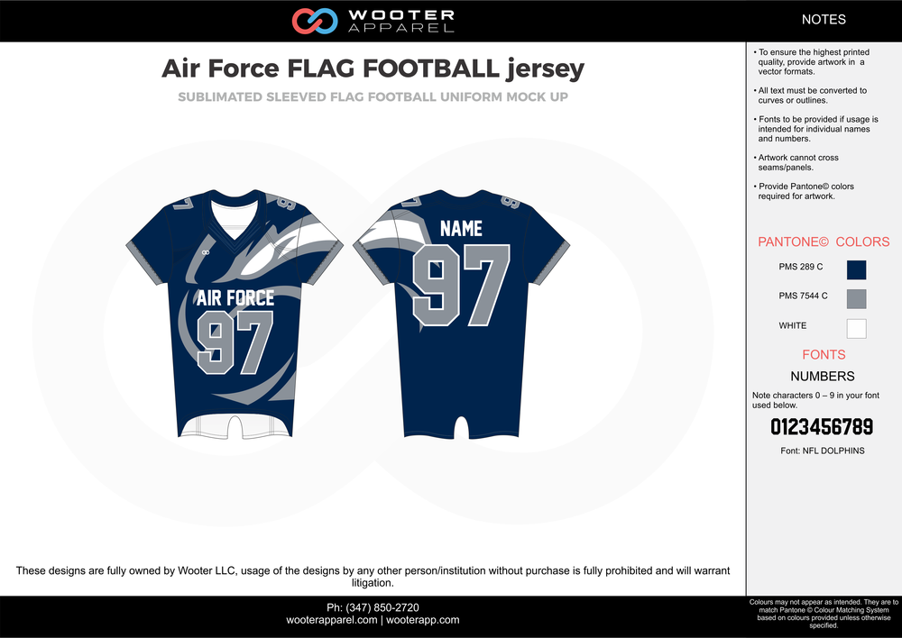 Air Force Flag Football Jersey blue gray white flag football uniforms jerseys top