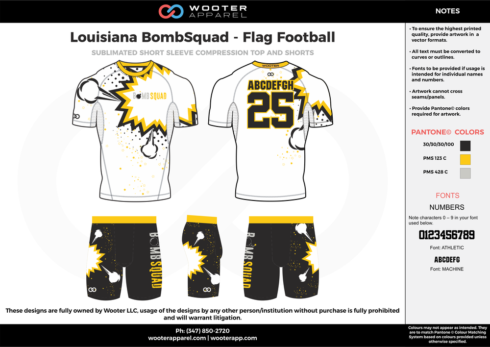 Louisiana BombSquad - Flag Football white black yellow gray flag football uniforms jerseys shorts