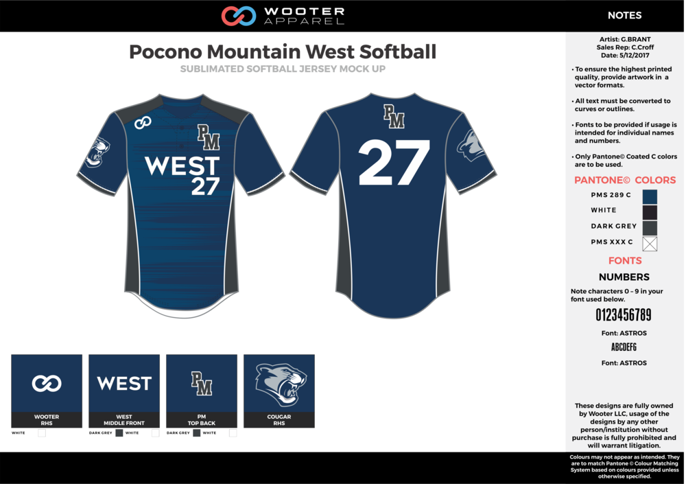 Pocono Mountain West Softball navy blue gray black white baseball uniforms jerseys top