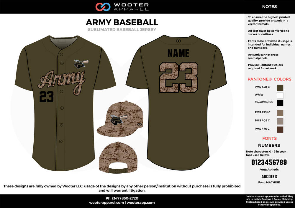 ARMY BASEBALL brown black khaki baseball uniforms jerseys cap