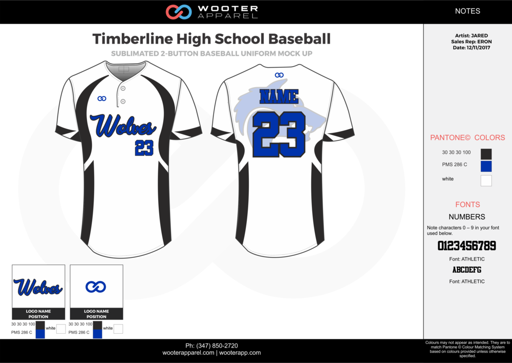Timberline High School Baseball white blue black baseball uniforms jerseys top