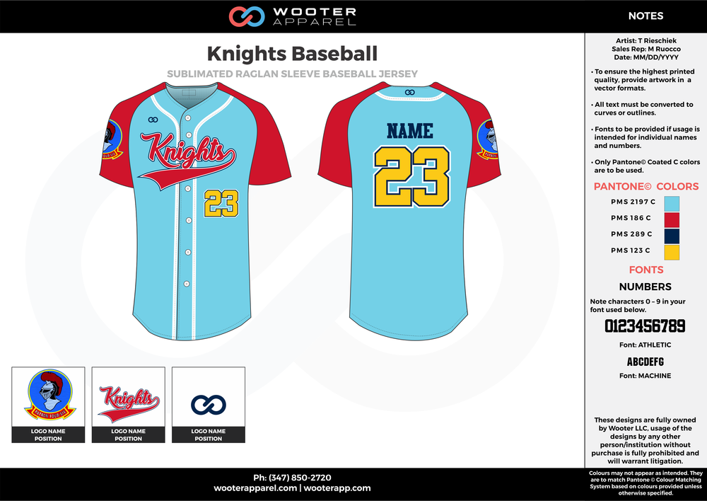 Knights Baseball blue red yellow black baseball uniforms jerseys tops
