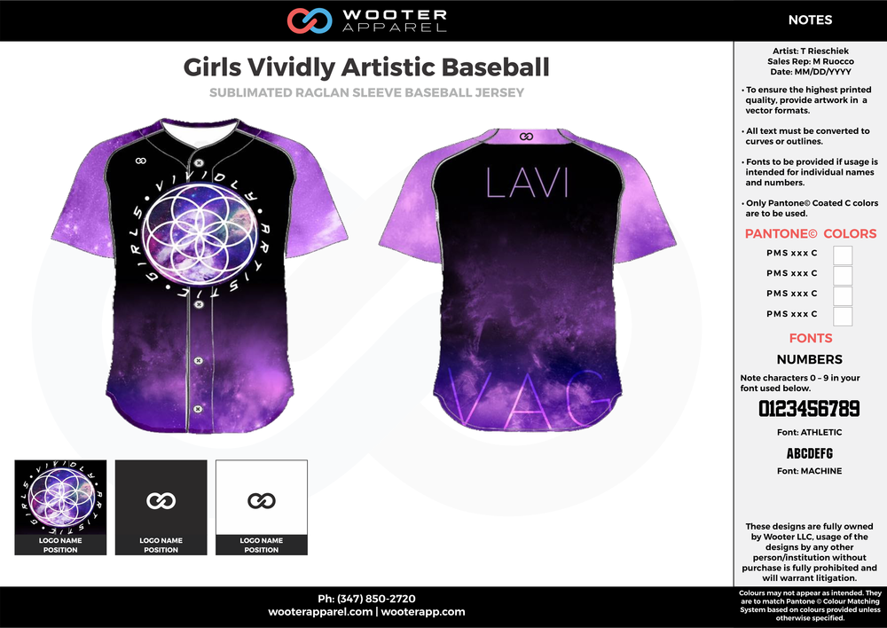Girls Vividly Artistic Baseball purple black white baseball uniforms jerseys tops