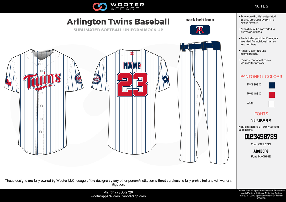 Arlington Twins Baseball blue white red baseball uniforms jerseys pants