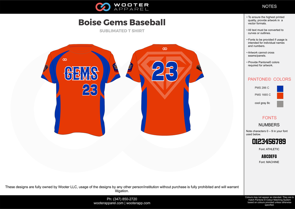Boise Gems Baseball orange blue gray baseball uniforms jerseys tops