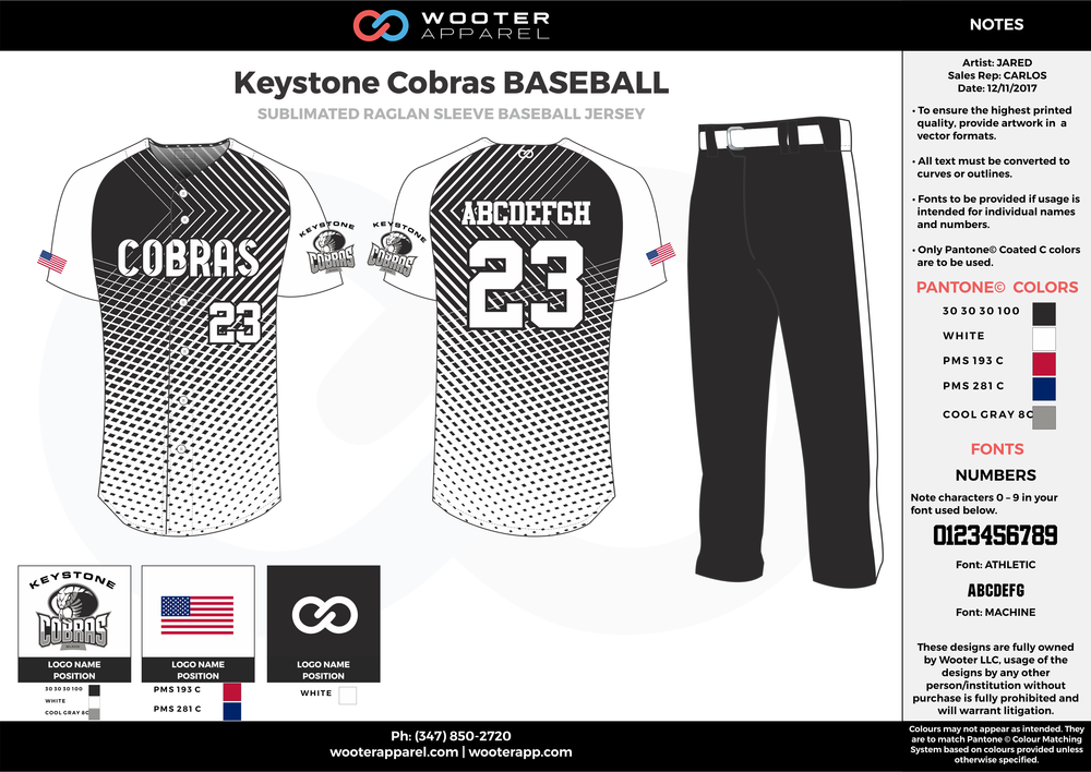 KEYSTONE COBRAS BASEBALL black white gray blue red baseball uniforms jerseys pants