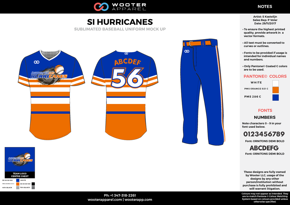 SI HURRICANES white blue orange baseball uniforms jerseys pants