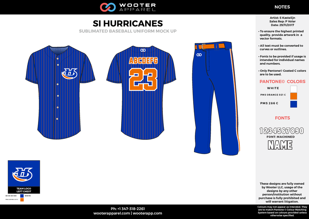 SI HURRICANES blue orange white baseball uniforms jerseys pants