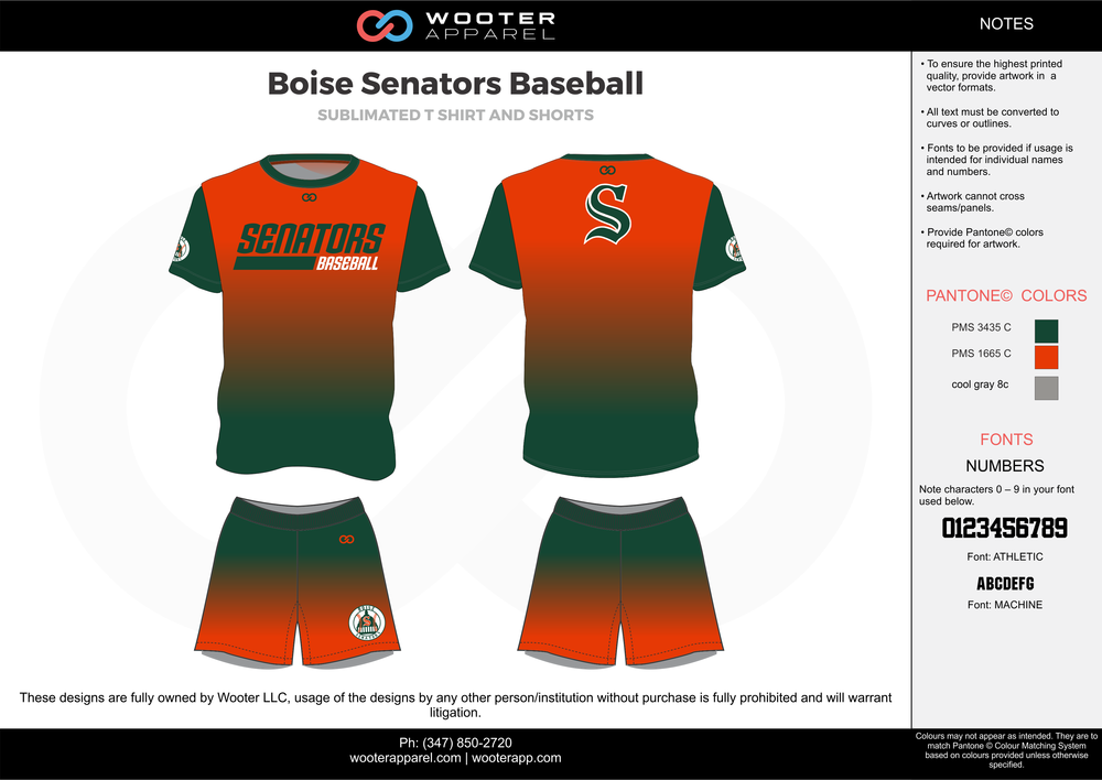 BOISE SENATORS BASEBALL orange green gray baseball uniforms jerseys shorts