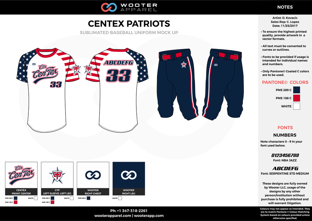 CENTEX PATRIOTS navy blue white red baseball uniforms jerseys pants