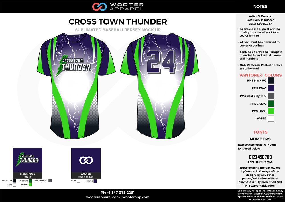 CROSS TOWN THUNDER black blue gray green white baseball uniforms jerseys tops