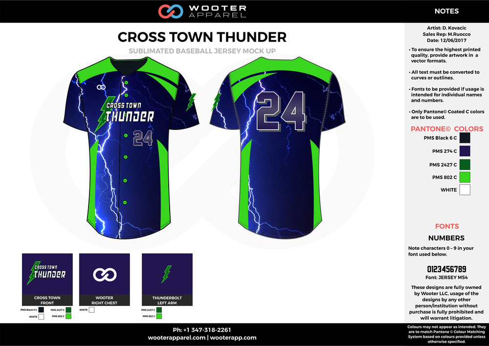 CROSS TOWN THUNDER blue black green white baseball uniforms jerseys tops