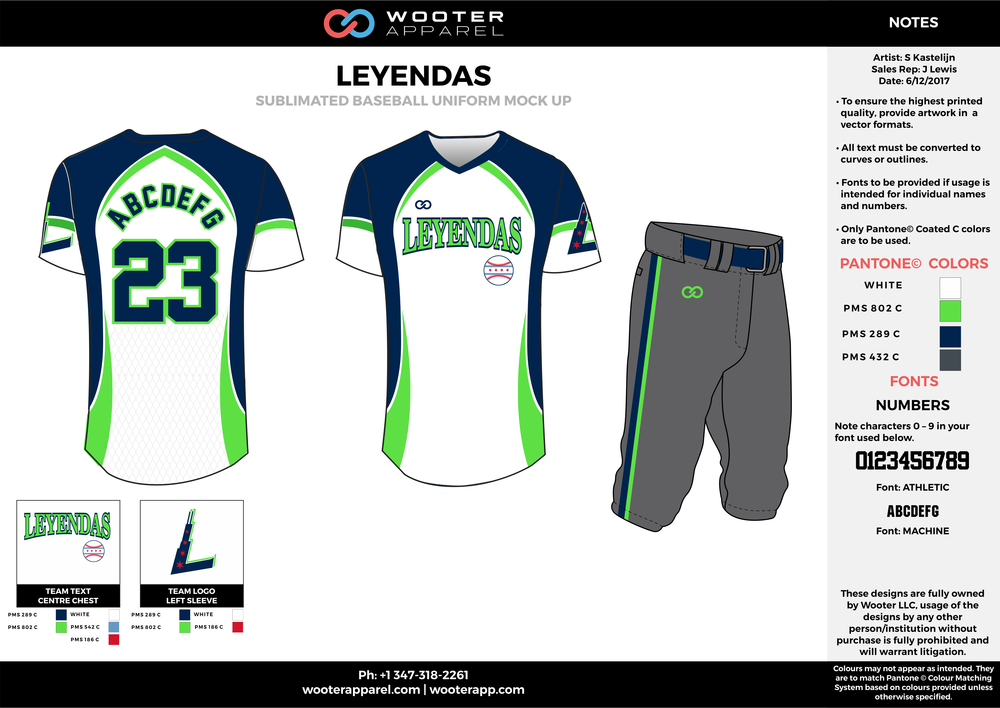 LEYENDAS white green blue gray baseball uniforms jerseys pants