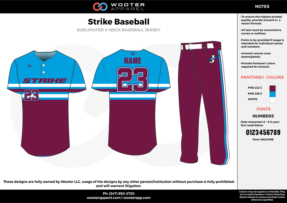STRIKE BASEBALL purple blue white baseball uniforms jerseys pants