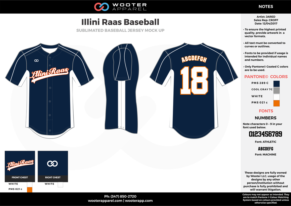 ILLINI RAAS BASEBALL dark blue gray white orange baseball uniforms jerseys tops