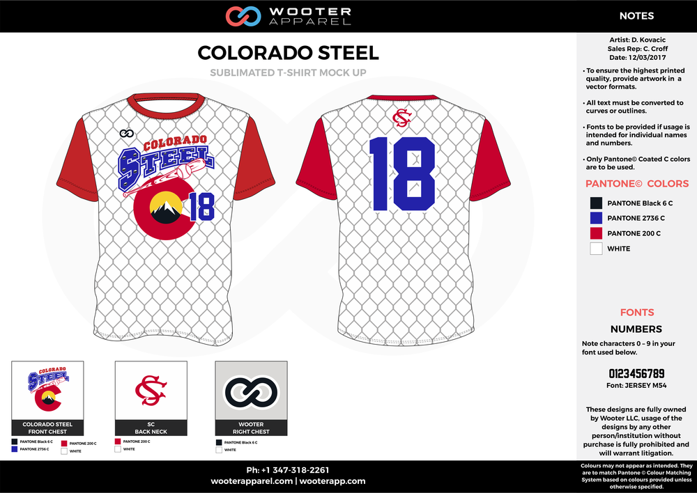 COLORADO STEEL blue red white baseball uniforms jerseys tops