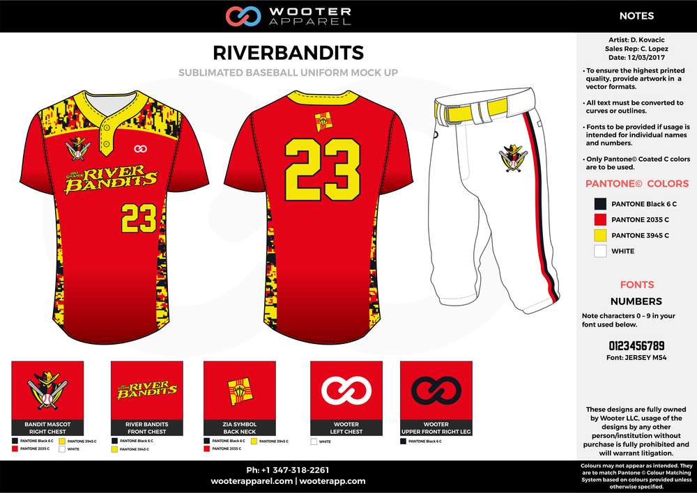 RIVERBANDITS red black yellow white baseball uniforms jerseys pants