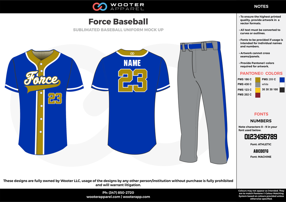 FORCE BASEBALL blue gray gold white baseball uniforms jerseys pants