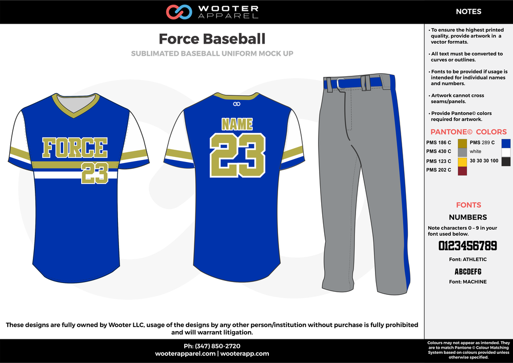 FORCE BASEBALL blue gray yellow gold white baseball uniforms jerseys pants
