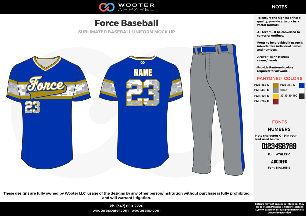 FORCE BASEBALL gray blue yellow white baseball uniforms jerseys pants