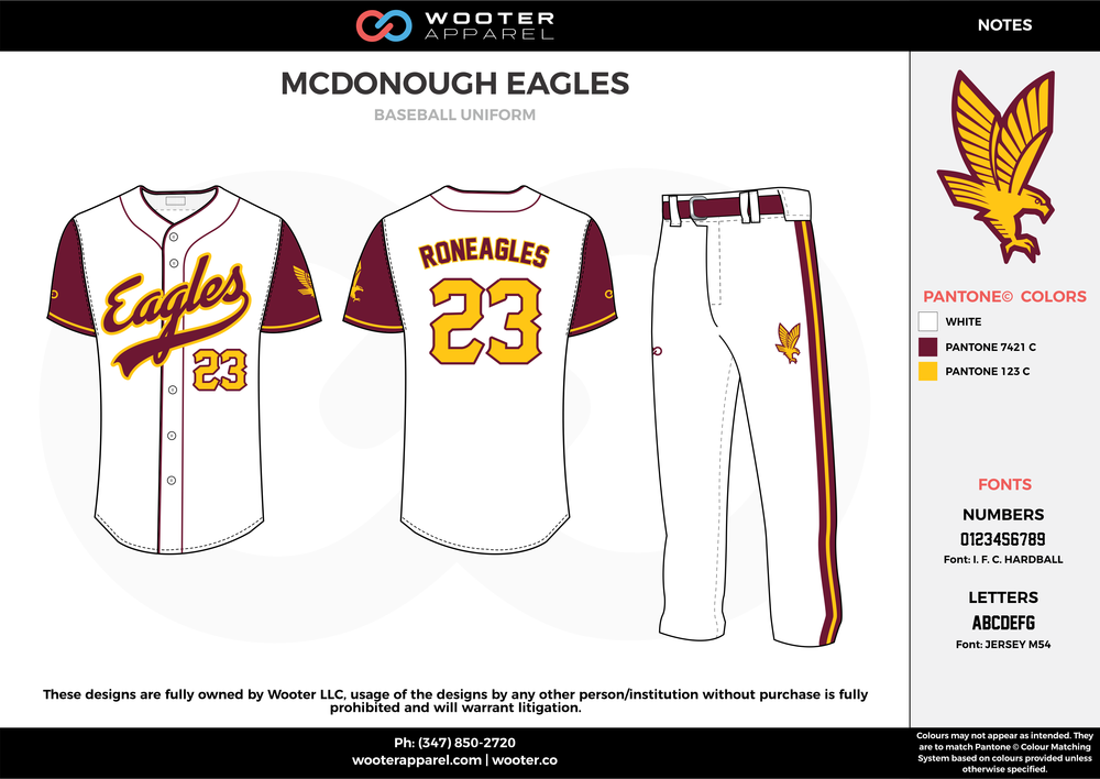 MCDONOUGH EAGLES white yellow maroon baseball uniforms jerseys pants
