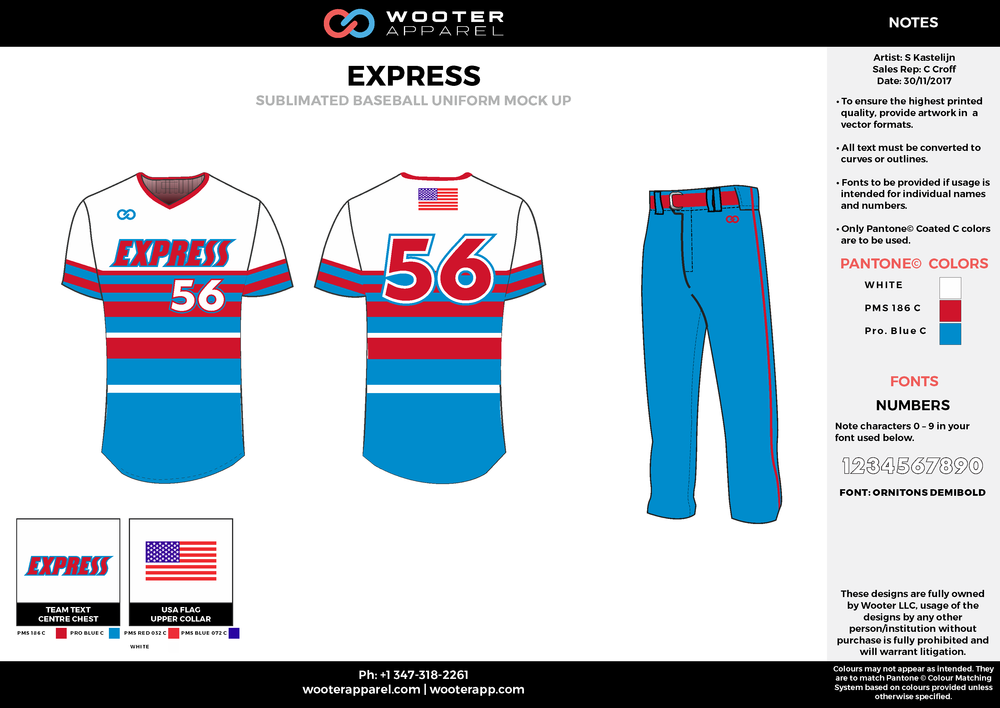 EXPRESS blue red white baseball uniforms jerseys pants