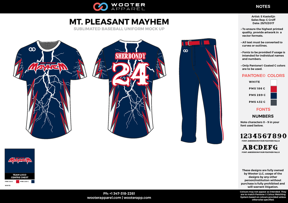 MT. PLEASANT MAYHEM black red white baseball uniforms jerseys pants
