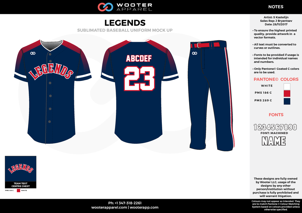 LEGENDS dark blue red white baseball uniforms jerseys pants
