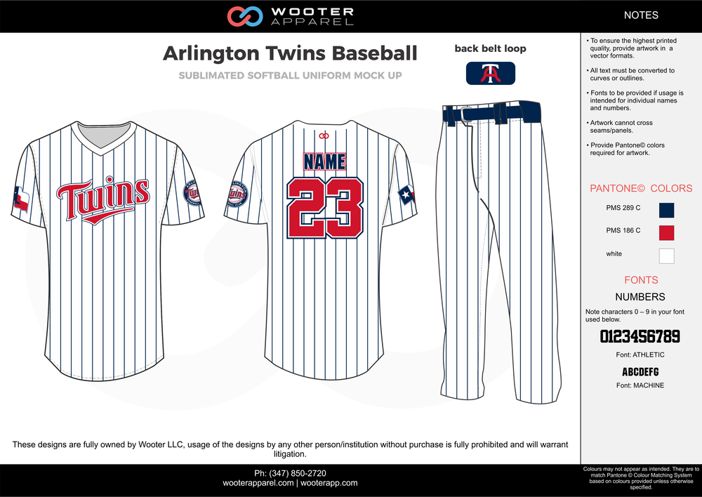 ARLINGTON TWINS BASEBALL white red black baseball uniforms jerseys pants