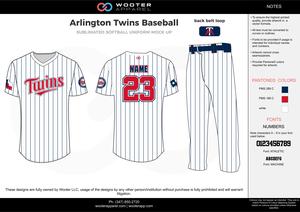 ARLINGTON TWINS BASEBALL white red black baseball uniforms jerseys pants 3abfa02d9