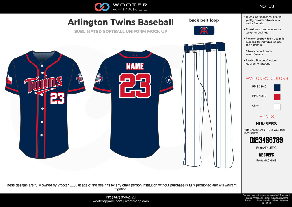ARLINGTON TWINS BASEBALL dark blue white red baseball uniforms jerseys pants