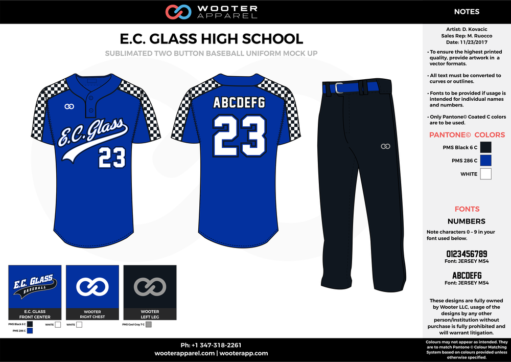 E.C. GLASS HIGH SCHOOL blue black white baseball uniforms jerseys pants
