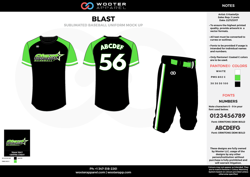 BLAST black green white baseball uniforms jerseys pants