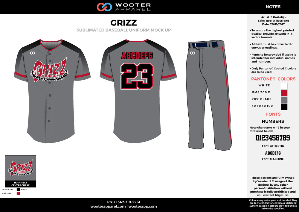 GRIZZ white red cool gray black baseball uniforms jerseys pants