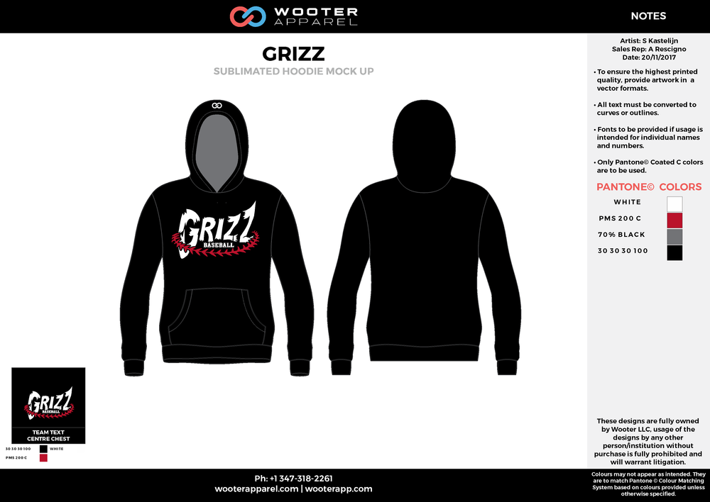 GRIZZ black white gray red baseball uniforms jerseys hoodie