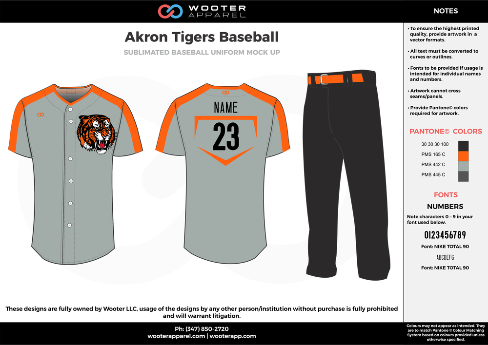 AKRON TIGERS BASEBALL black orange gray baseball uniforms jerseys pants