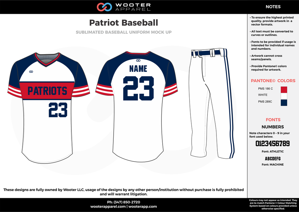 PATRIOT BASEBALL red white dark blue baseball uniforms jerseys pants