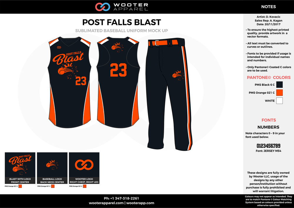 POST FALLS BLAST black orange white baseball uniforms jerseys pants