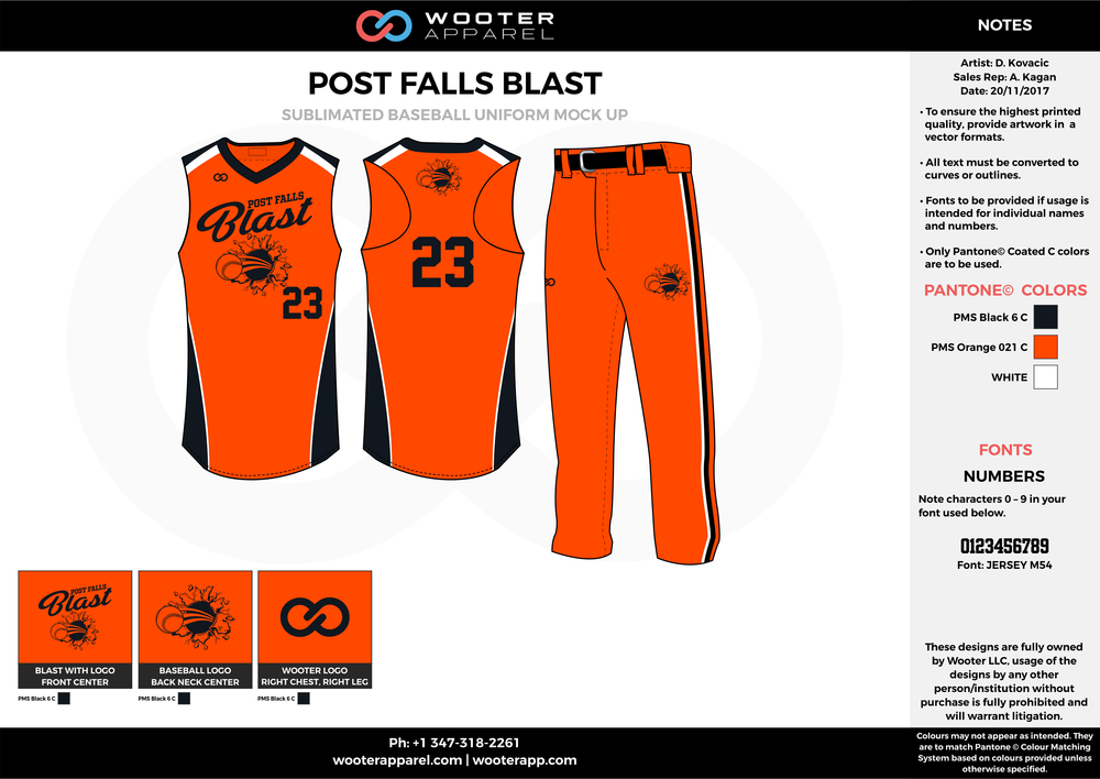 POST FALLS BLAST orange black white baseball uniforms jerseys pants